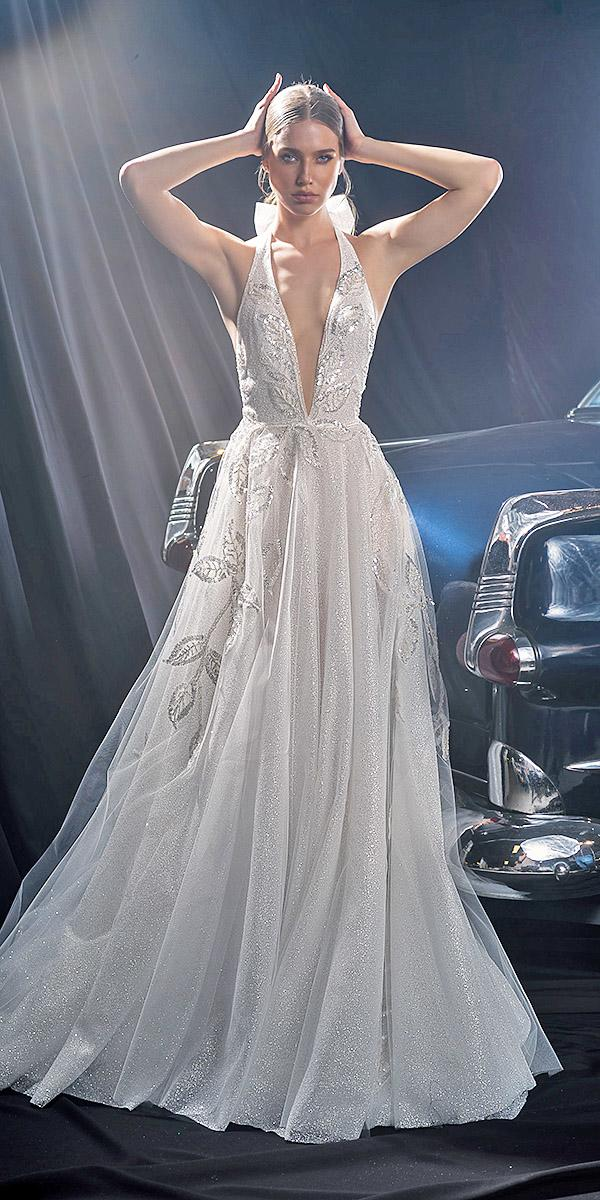 dany mizrachi fall 2018 wedding dresses a line deep v neckline silver floral sequins