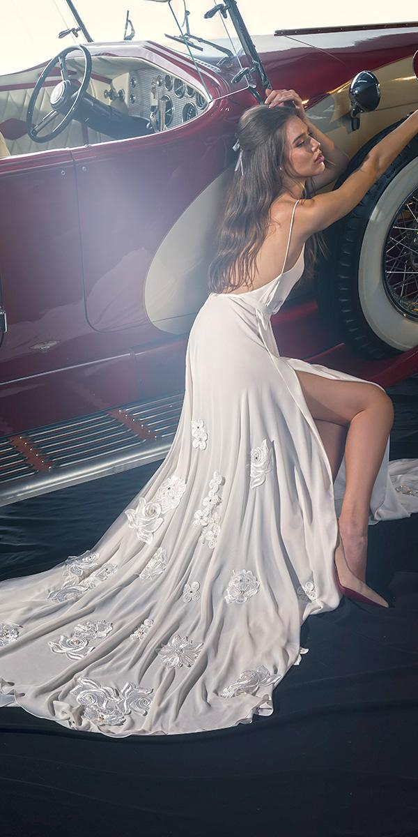 dany mizrachi fall 2018 wedding dresses beach with spaghetti straps floral appliques