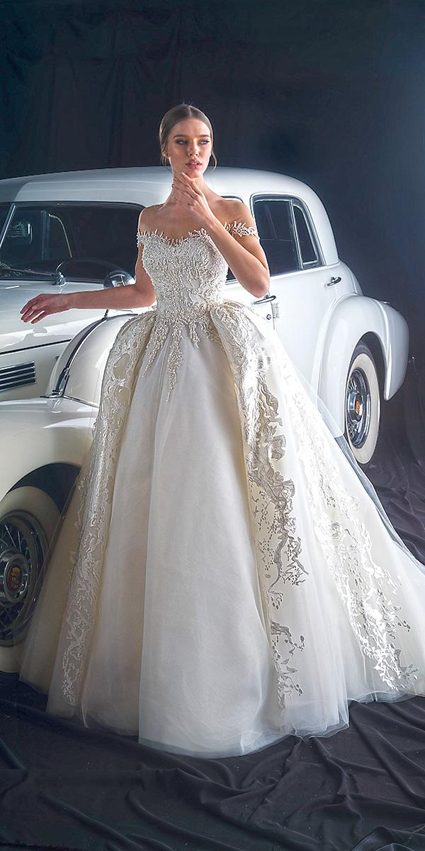 dany mizrachi fall 2018 wedding dresses princess off the shoulder with overskirt