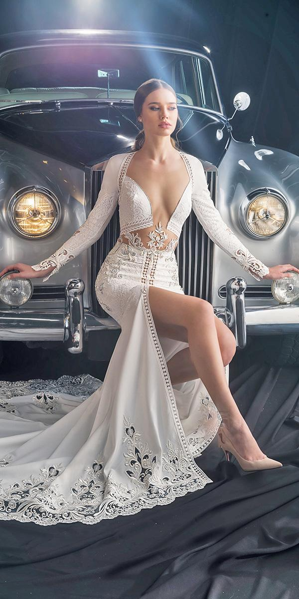 dany mizrachi fall 2018 wedding dresses sexy with long sleeves plunging neckline
