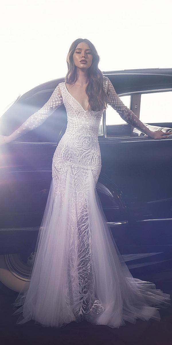 dany mizrachi fall 2018 wedding dresses sheath v neckline with long sleeves lace