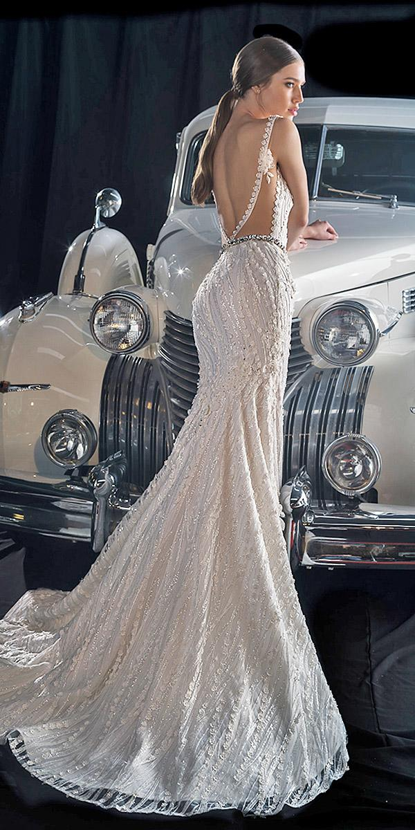 dany mizrachi fall 2018 wedding dresses trumpet low back sequins floral