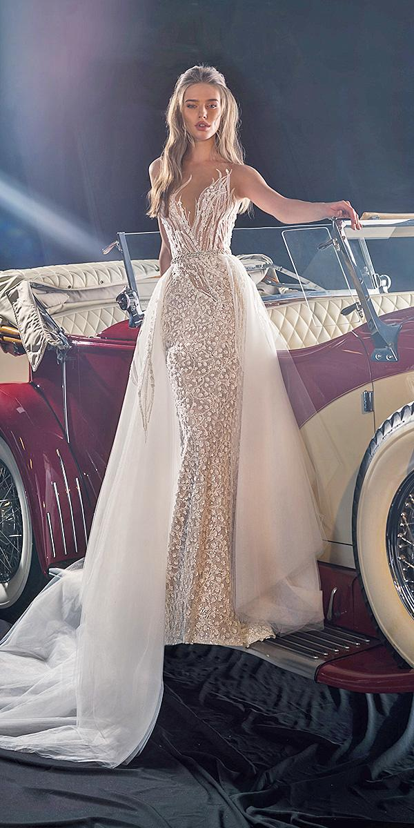 dany mizrachi fall 2018 wedding dresses with overskirt ivory floral embellishment sexy