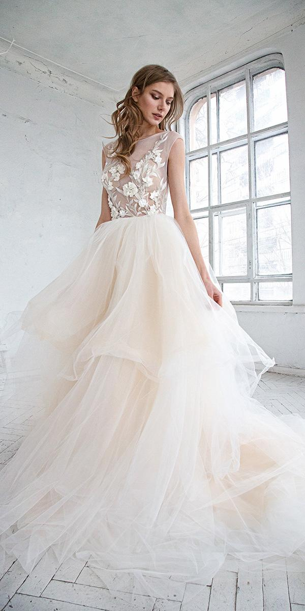 hofla wedding dresses a line illusion neckline floral appliques tulle skirt
