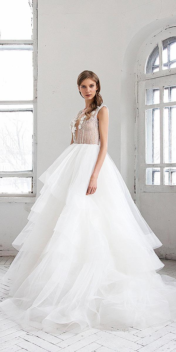 hofla wedding dresses a line deep v neckline ruffled skirt 2019