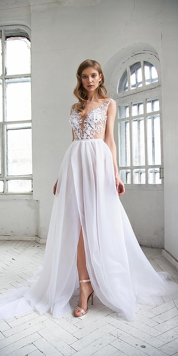 hofla wedding dresses a line illusion necklie floral slit beach