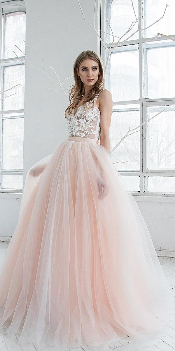 hofla wedding dresses a line illusion neckline floral tulle blush skirt 2019