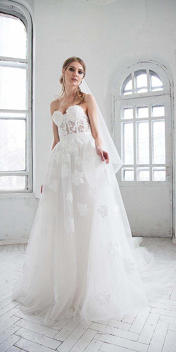 hofla wedding dresses a line sweetheart strapless floral embellishment