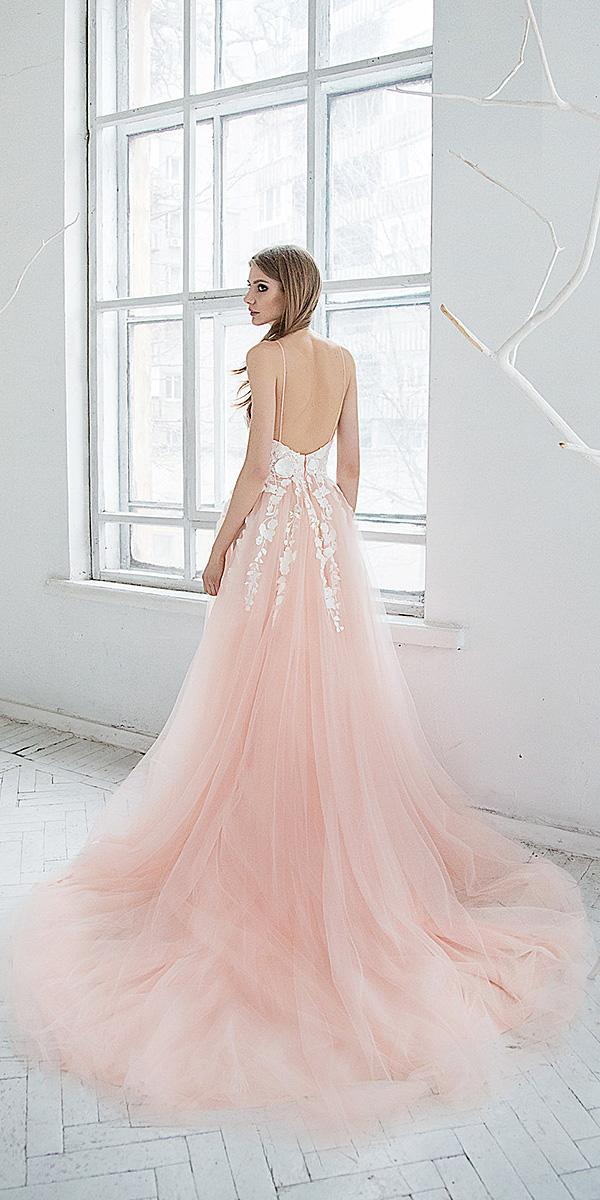 hofla wedding dresses a line with spaghetti straps backless foral blush