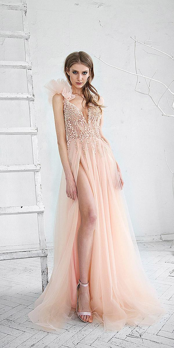 hofla wedding dresses sexy deep v neckline with slit tulle skirt blush