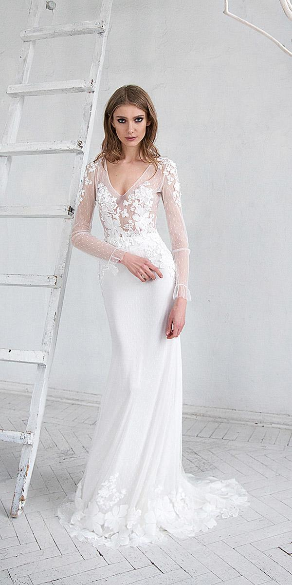 hofla wedding dresses sheath with long sleeves floral elegant 2019