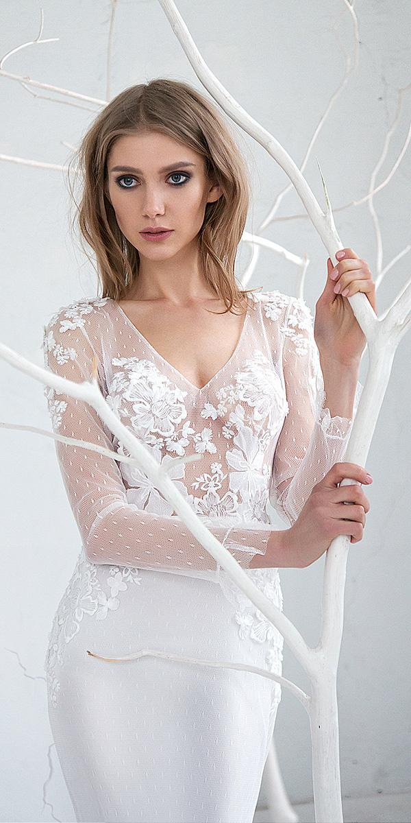 hofla wedding dresses with long sleeves illusion neckline floral details