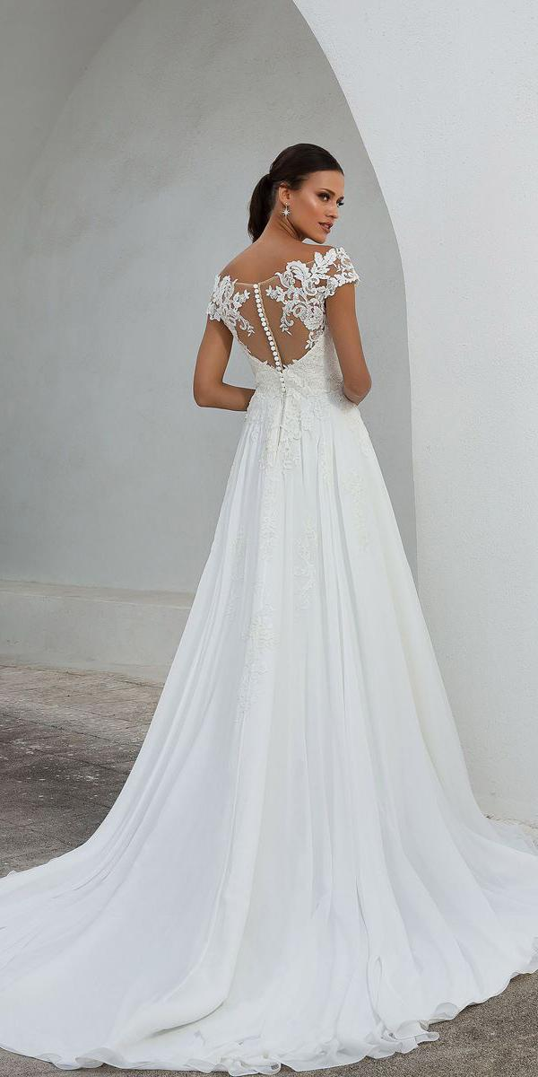 justin alexander wedding dresses a line with cap sleeves illusion back