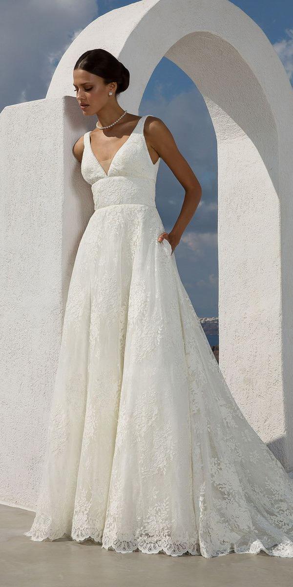 justin alexander wedding dresses a line with empire waist v neck lace 2018