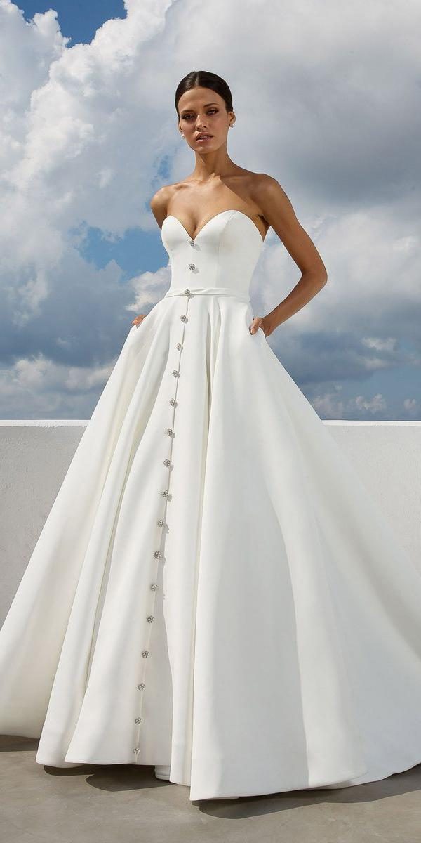 justin alexander wedding dresses ball gown sweetheart crystal buttons satin