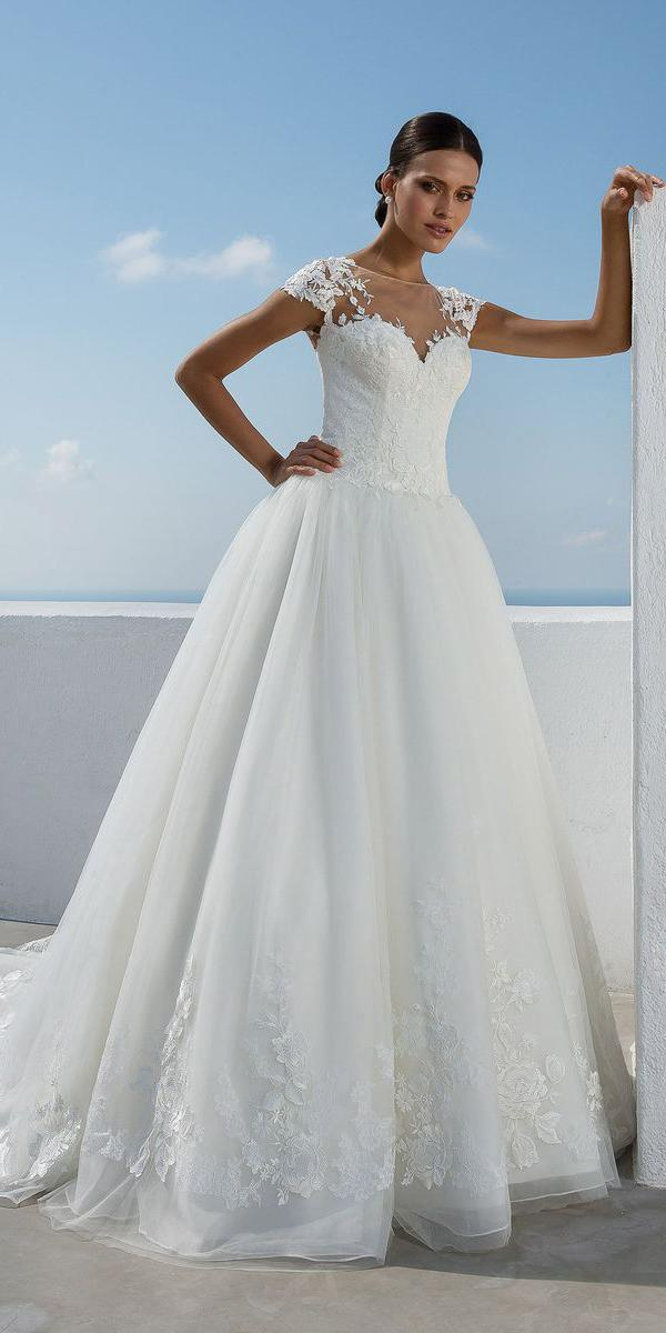 justin alexander wedding dresses ball gown with cap sleeves illusion neckline lace 2018