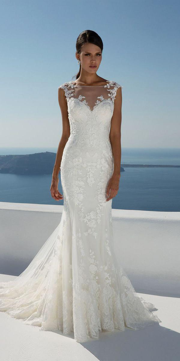 justin alexander wedding dresses fit and flare illusion neckline sweetheart lace