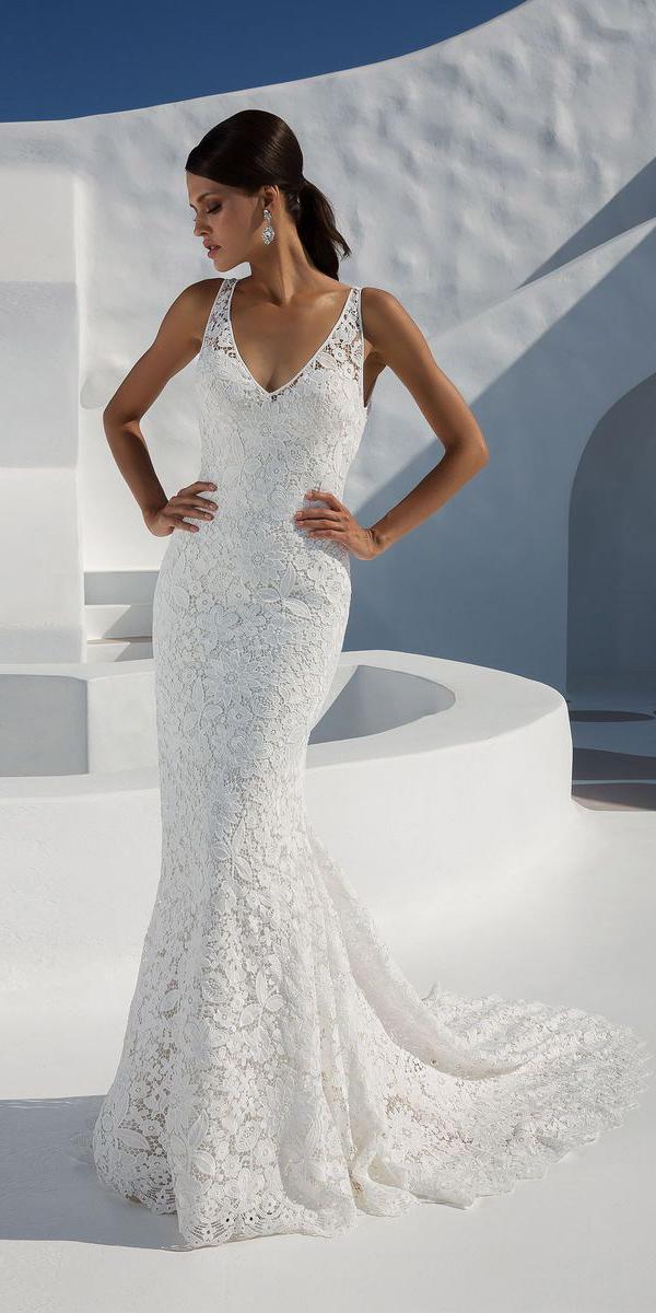justin alexander wedding dresses fit and flare v neck full lace 2018
