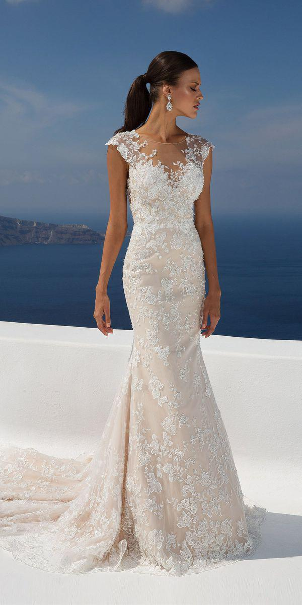 justin alexander wedding dresses fit and flare with cap sleeves illusion neckline lace floral 2018