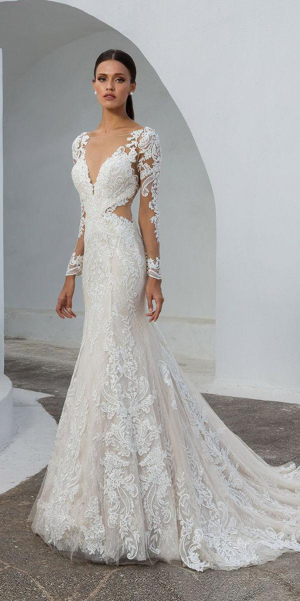 justin alexander wedding dresses fit and flare with long sleeves lace illusion neckline