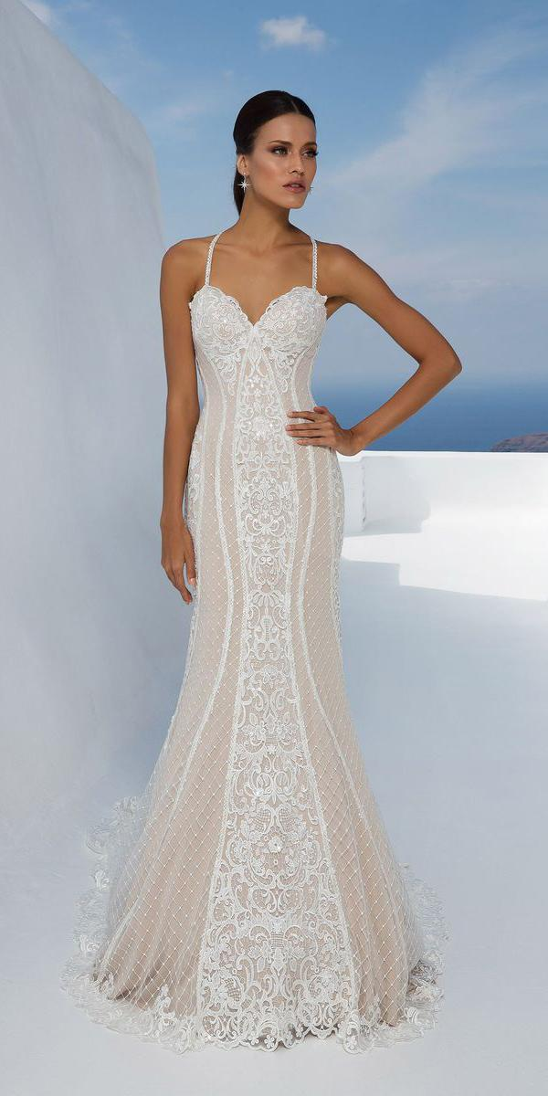 justin alexander wedding dresses fit and flare with spaghetti straps sweetheart lace 2018