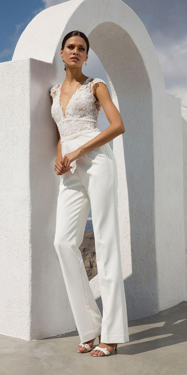 justin alexander wedding dresses jumpsuits with cap sleeves lace top modern