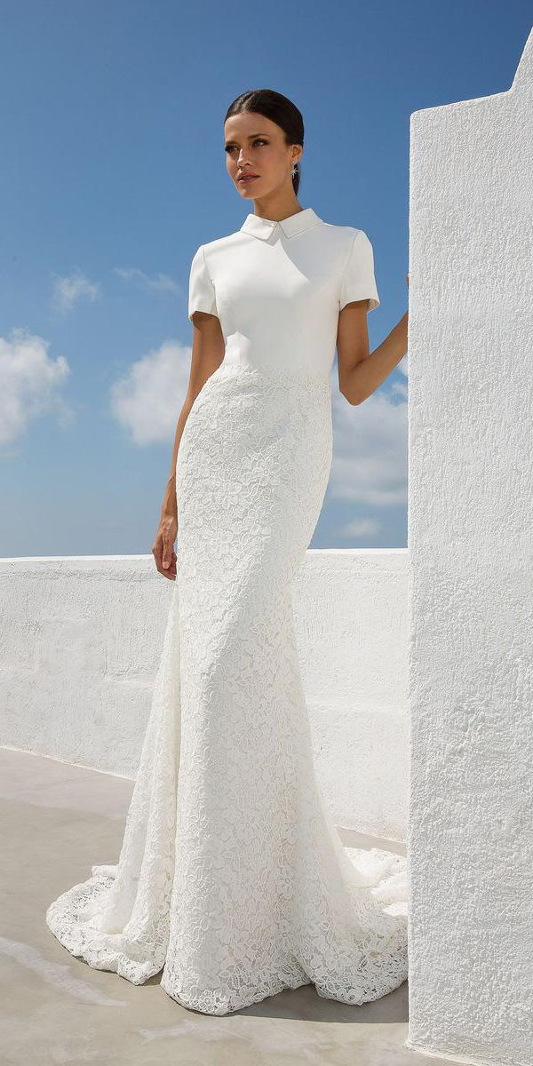 justin alexander wedding dresses with cap sleeves high neck lace modern 2018