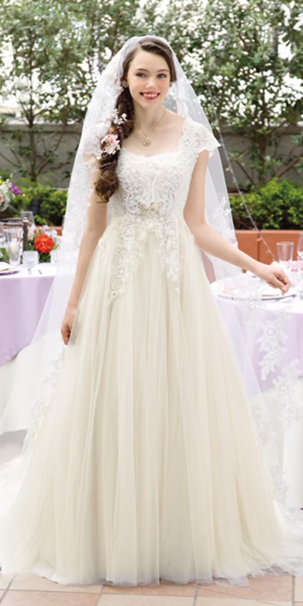 kuraudia disney wedding dresses a line with cap sleeves lace ivory from rapunzel