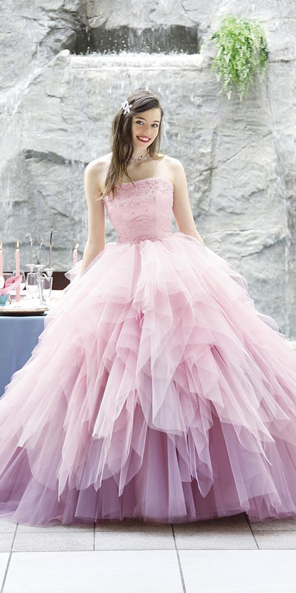 kuraudia disney wedding dresses ball gown beaded corset pink ruffled skirt