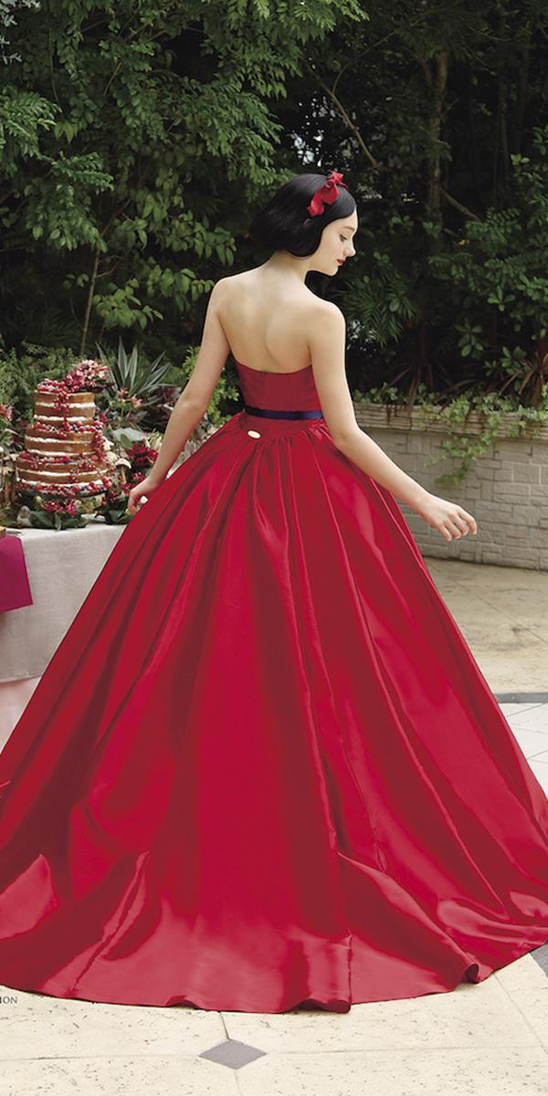 kuraudia disney wedding dresses ball gown low back red colored snow white