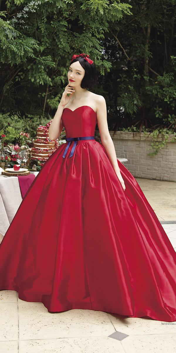 kuraudia disney wedding dresses ball gown sweetheart with blue belt red