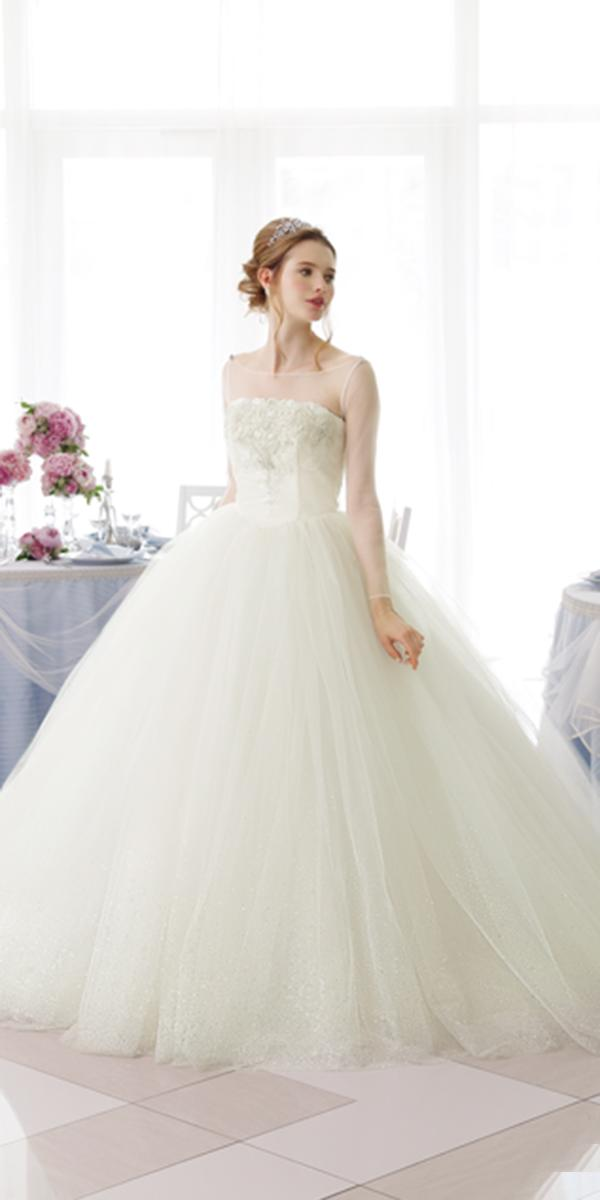 kuraudia disney wedding dresses ball gown with illusion long sleeves straight neckline cinderella