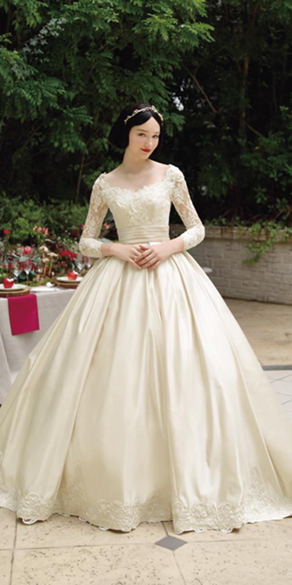 kuraudia disney wedding dresses ball gown with long sleeves lace from snow white