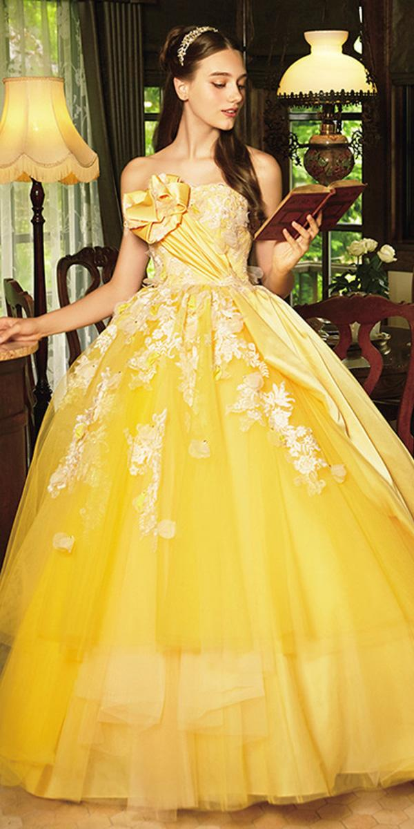 kuraudia disney wedding dresses ball gown yellow with floral appliques belle