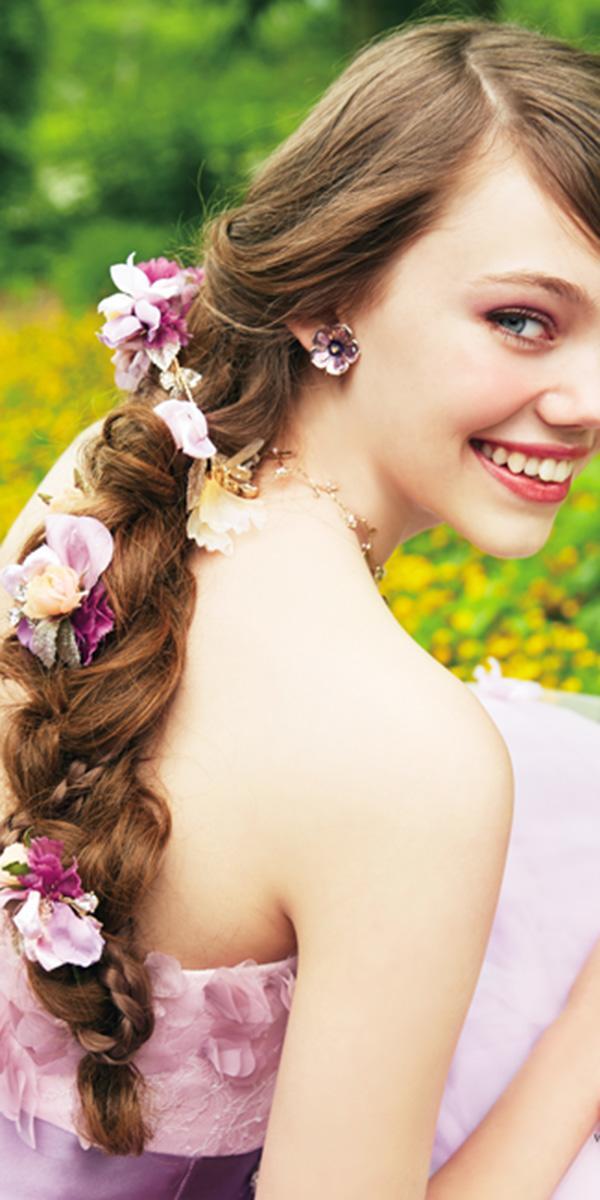 kuraudia disney wedding dresses floral in hair purple color from rapunzel princess