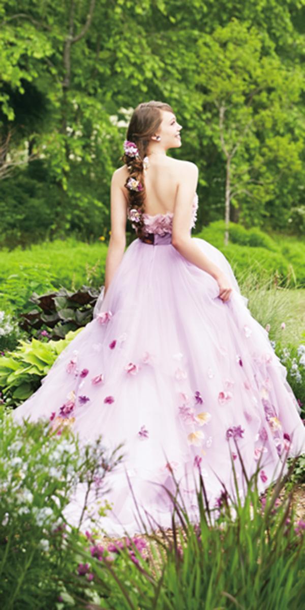 kuraudia disney wedding dresses low back floral appliques purple rapunzel