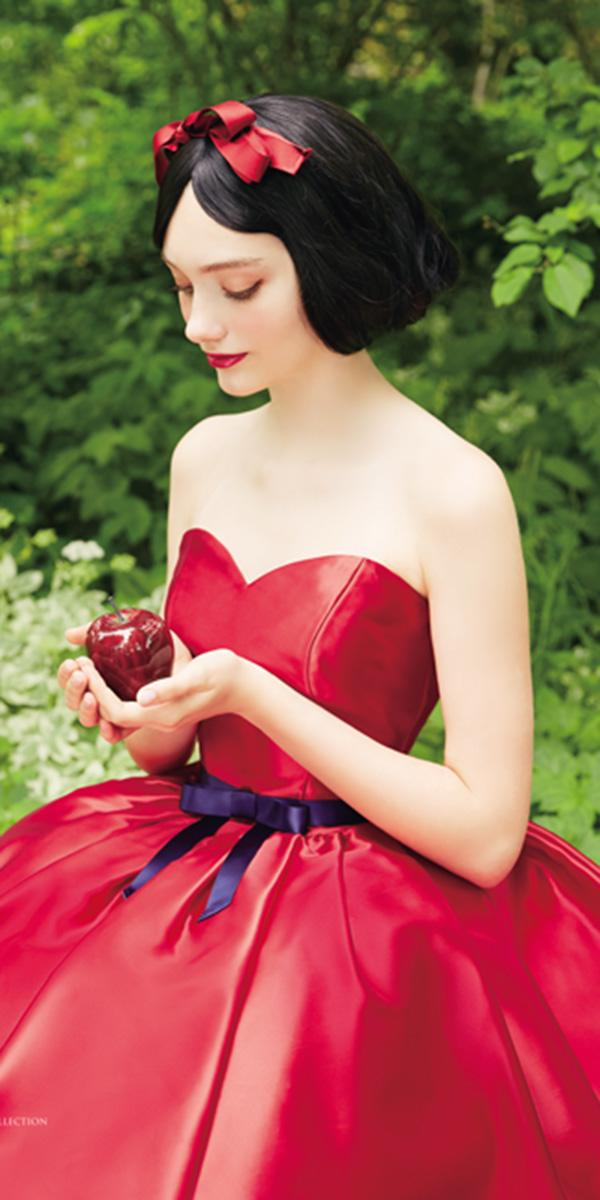 kuraudia disney wedding dresses red ribbon on the head from snow white