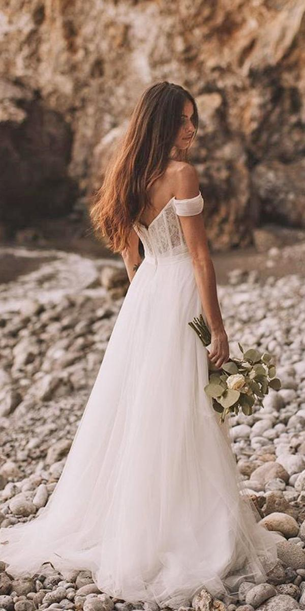 lace a line off the shoulder simple wedding dresses stephenliberge