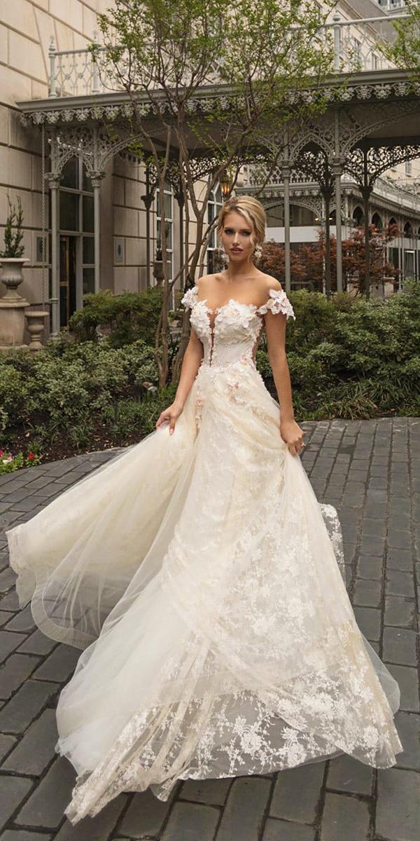 naama and anat wedding dresses 2019 a line off the shoulder floral appliques