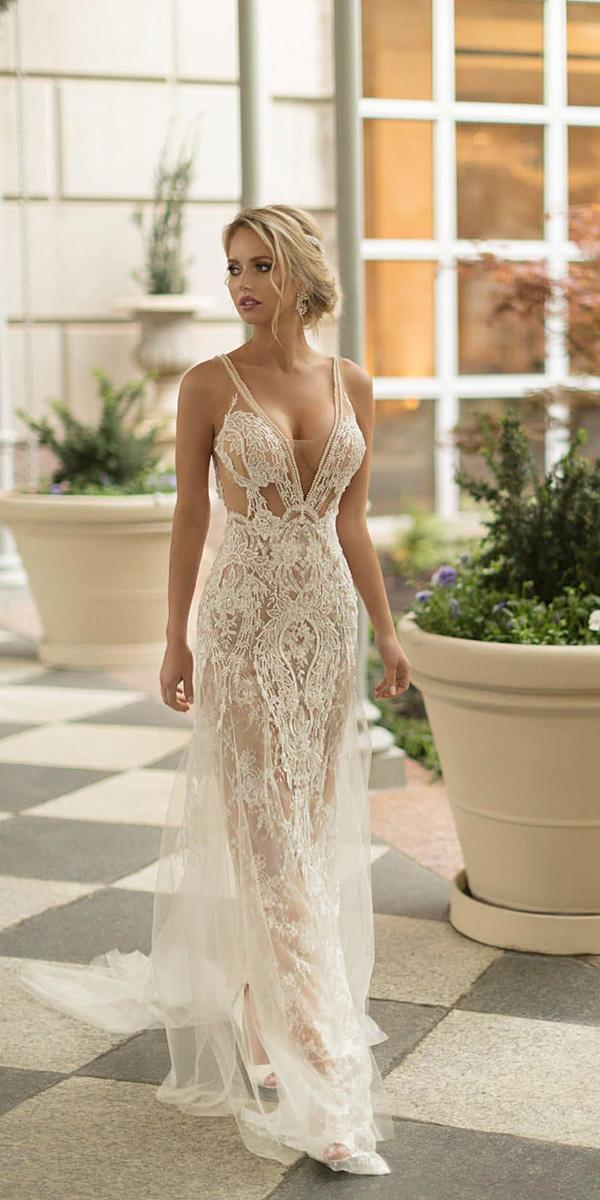 naama and anat wedding dresses 2019 deep v neckline with straps beach sexy lace
