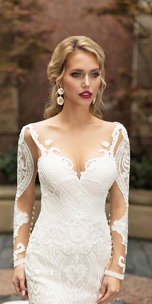 naama and anat wedding dresses 2019 illusion neckline with long sleeves lace details