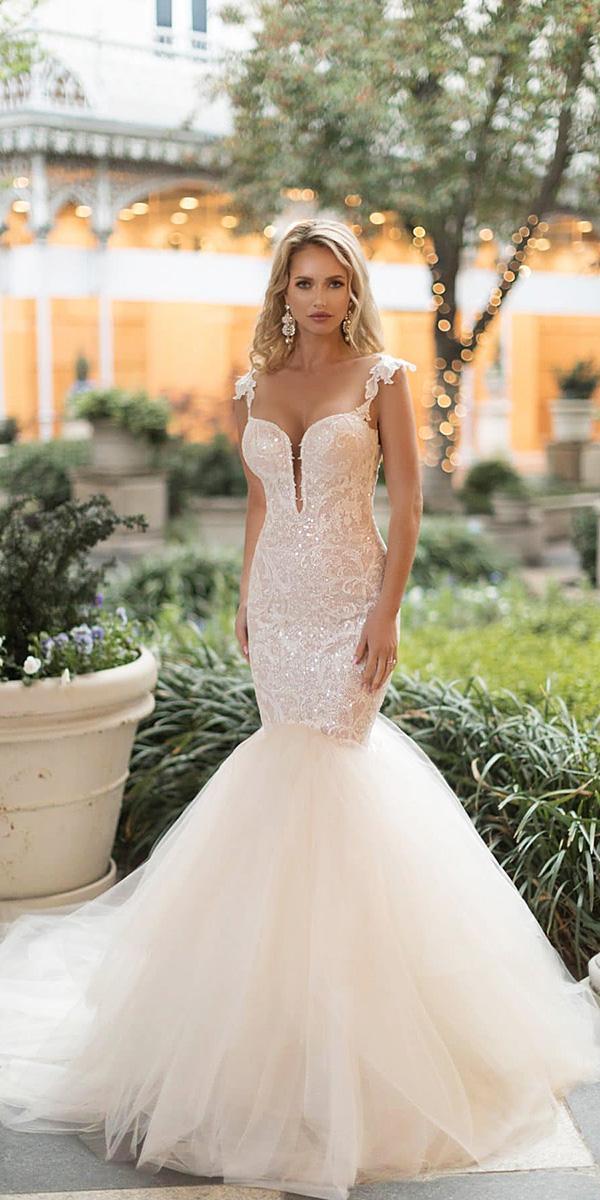 naama and anat wedding dresses 2019 mermaid illusion neckline sequins