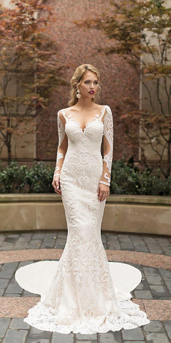 naama and anat wedding dresses 2019 mermaid with long sleeves illusion neckline lace