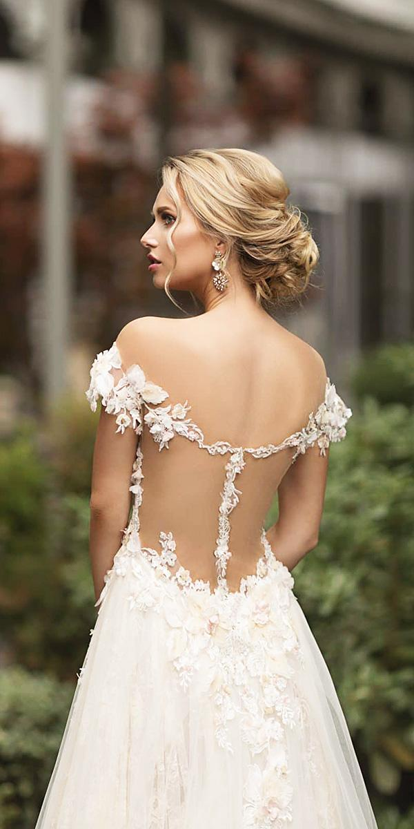 naama and anat wedding dresses 2019 off the shoulder tattoo effect floral appliques details