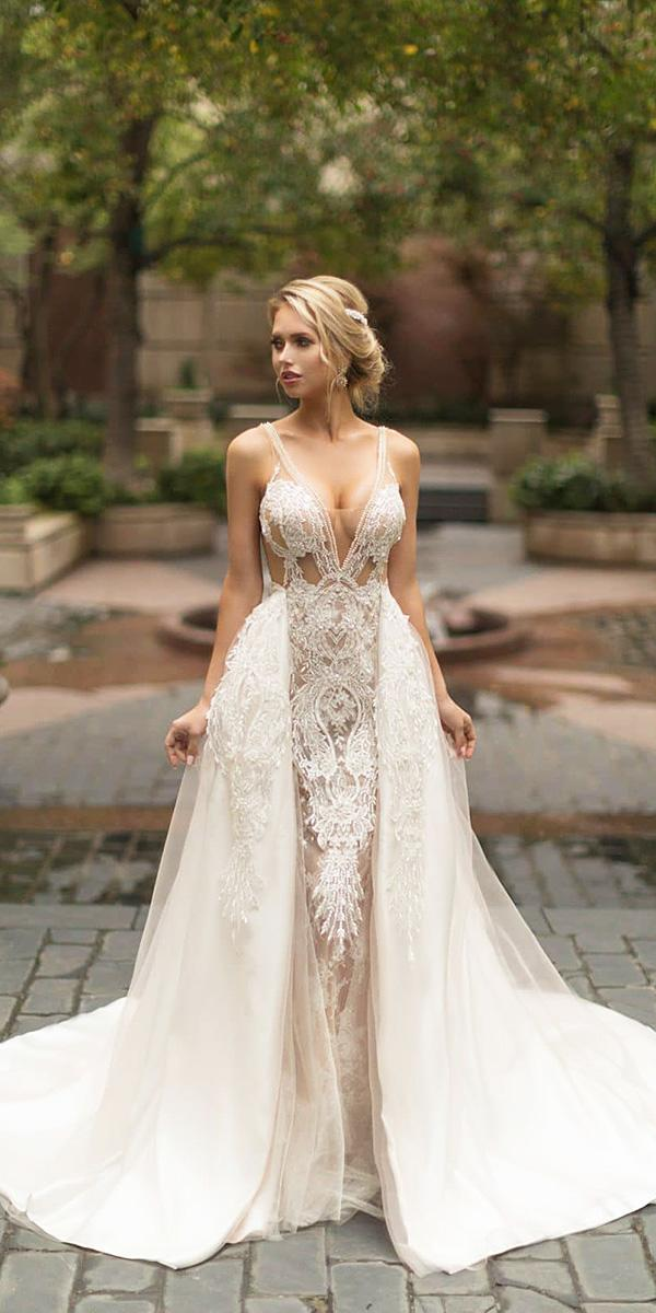 naama and anat wedding dresses 2019 sheath with overskirt straps deep v neckline lace sexy