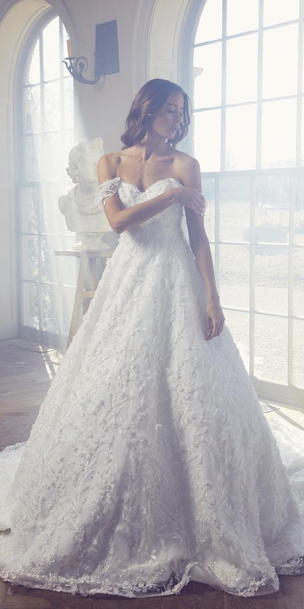 sareh nouri wedding dresses 2019 a line off the shoulder sweetheart floral