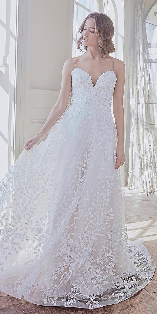 sareh nouri wedding dresses 2019 a line with spaghetti straps sweetheart floral embellishment