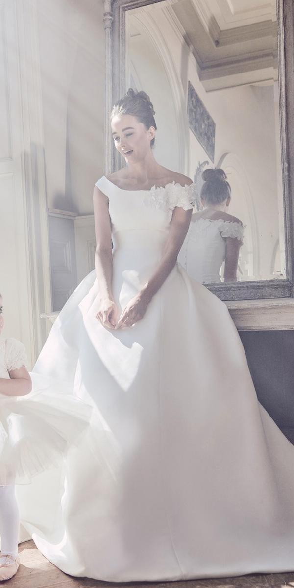 sareh nouri wedding dresses 2019 ball gown off the shoulder floral appliques