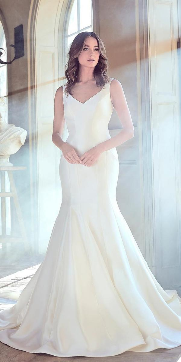 sareh nouri wedding dresses 2019 mermaid v neck simple