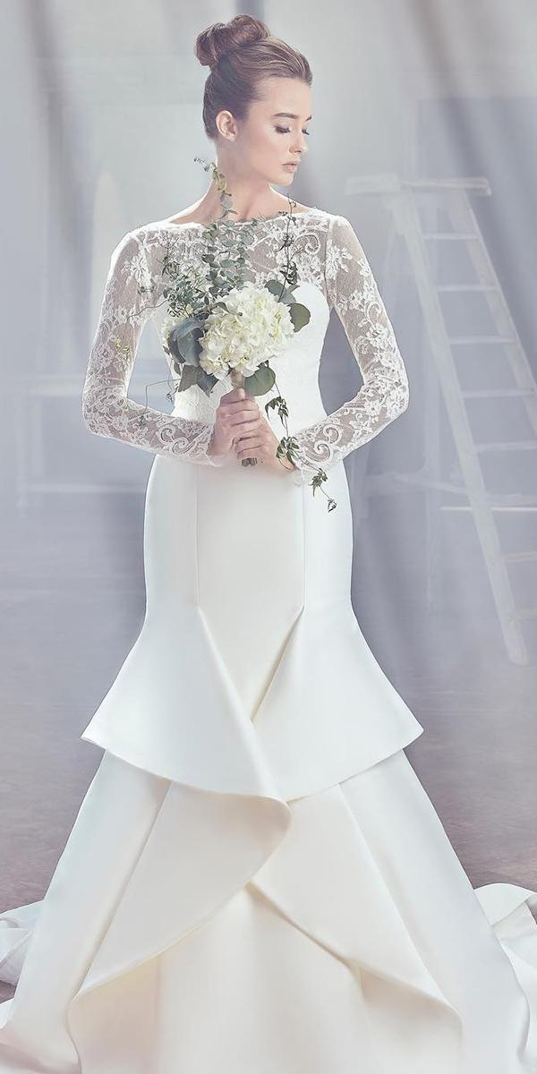 sareh nouri wedding dresses 2019 mermaid with long sleeves illusion neckline lace
